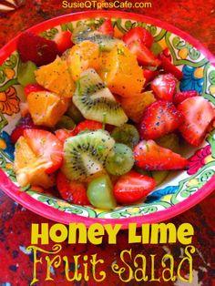 Honey Lime Fruit Salad Recipe - perfect for Easter Brunch, breakfast or even dessert! We love fruit for dessert.
