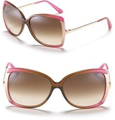 "Juicy Couture ""Flawless"" Butterfly Sunglasses with Metal Trim"