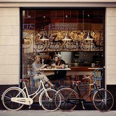 bicycles, window, vintage bikes, bike rides, dates, shops, pari, morning coffee, french cafe