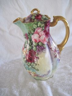 H Co Limoges France Hand Painted Floral Coffee Pot Haviland