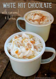White Hot Chocolate with Caramel & Toffee #fallrecipe
