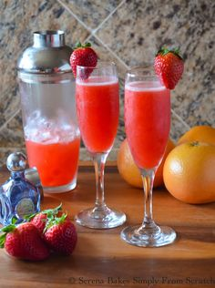Strawberry Grapefruit Mimosas the perfect drink for Valentines Day, Easter or a warm summer.
