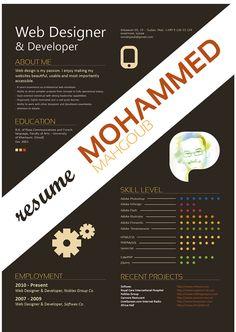 Mohammed Mahgoub's Resume. 20 Innovative Resume Examples. #resume #design #inspiration