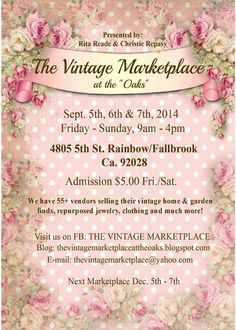 SAVE THE DATE. The vintage Marketplace at the Oaks September 2014