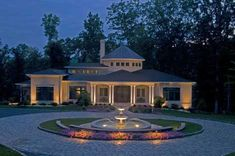 Front yard design with lighting. Circular driveway with belgian block and beautiful fountain. http://www.landscape-design-advice.com/bluestone-steps.html beauti landscap, circl driveway, driveways, dream hous, lighting ideas, circular driveway, front yard design, driveway light, garden
