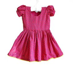 Baby Dress - Size 12 - 24 months - Pink dress with yellow piping  -  Baby Girl Dress on Etsy, £20.14
