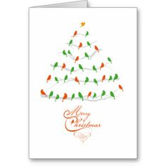 Abstract Christmas tree with red and green birds