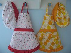 child apron, little girls, aprons, handmade christmas gifts, apron patterns, kids, apron tutori, diy home, hat