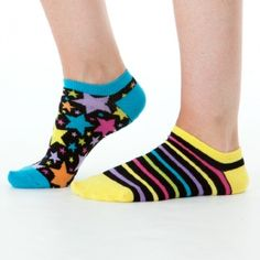 Black Zany Liner Socks Your favorite zany style just got a fabulous, funky upgrade with hearts and stars in all shapes and sizes - plus super cute stripes - in the boldest of colors. #littlemissmatched #funkysocks