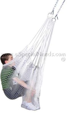 Our therapy net swing is designed to support any child or adult and be used in sitted position. The net swing cradles the child so they feel safe and secure, gives total body support.