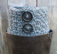 Boot Cuffs Grey Boot Socks Crocheted Gray by BlueBayCrochet, $19.50