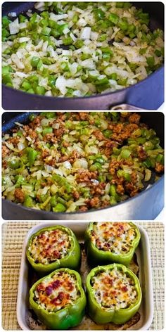 Stuffed Green Peppers with Brown Rice, Italian Sausage and Parmesan