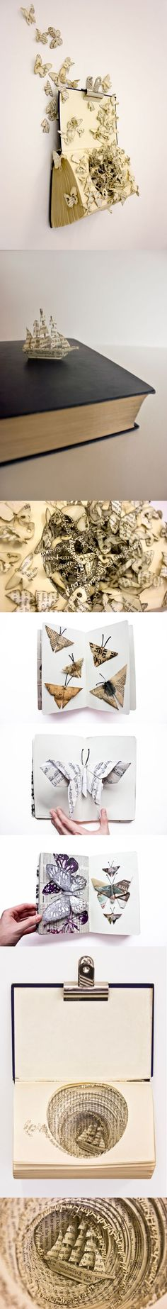 Book art by Thomas Wightman.  This is all gorgeous. Done by people withway more patience than mev #paper #butterflies #wallart