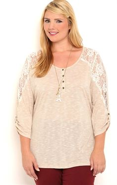 Deb Shops Plus Size Roll Sleeve Henley Top with High Low Hem and Lace Shoulders $15.00