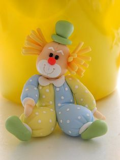polym clay, fondant clown, polymer clay, sweet cakes, cake toppers