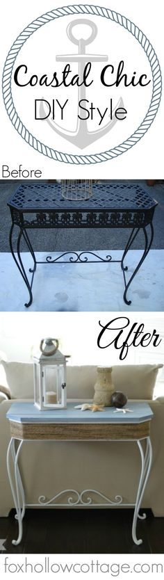 Coastal Beach Theme Painted Furniture | Before and After DIY Tutorial with Maison Blanche Vintage Furniture Paint in Bayou Blue and Lime Wax in Chalk White