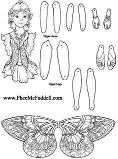Fairy Puppet Briana To Color www.pheemcfaddell.com puppet briana, craft, color, fairi puppet