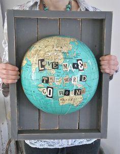 Globe art - from Rhonnadesigns.blogspot.com blue velvet, wall art, gift, craft, map, world globes, themed rooms, quot, diy projects