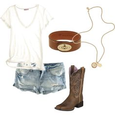 White neck, jean shorts, cowgirl boots, long simple gold necklace