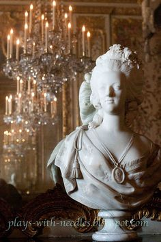 bust of marie antoinette in her bedchamber at Versailles via susan elliott