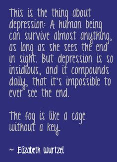 quote by Elizabeth Wurtzel - This is the thing about Depression - a human being can survive almost anything as long as she sees the end in sight but depression is so insidious and it compounds daily that it's impossible to ever see the end The fog is like a cage without a key