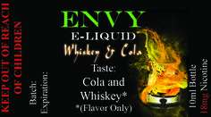 Envy Premium E liquid Collection Whiskey and Cola Sale $4.95