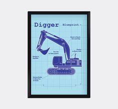 Modern Genes Art.  Modern Blueprint of a Digger 8X10 Art Print wall by moderngenes, $15.00