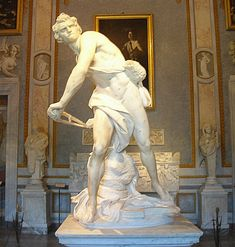 David by Bernini, Galleria Borghese, Rome. As important as Michelangelo's David, Bernini's David is altogether different. This is a David one can relate to: not beautiful, human sized, with a look of anger and determination on his face as he contorts his body to try and summon all his strength to make a shot that will bring down a giant. He is in the middle of movement, his clothing swirling around him, gazing off in the distance.