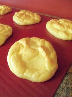 Carb Free Cloud Bread. (made with cottage cheese and eggs = protein). These are super simple to make, and taste like a soft waffle.