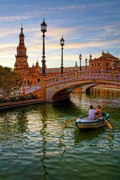 Colorful Bridge in Plaza De España, Sevilla Spain