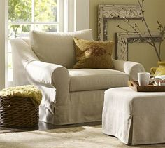 Windsor Slipcovered Armchair #potterybarn...if only I had better sewing skills :)