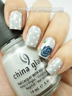 Blue Rose Nail Art Design.     I wish Rina could do my nails all the time!