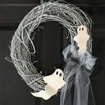 halloween crafts, ribbon wreaths, halloween wreaths, ghost wreath, garden