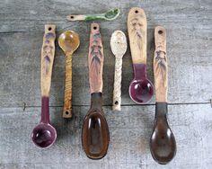 Zig Zag Ceramic Spoon - Handmade Pottery Spoon - Green - Decorative Functional Spoon - Kitchen Art. via Etsy.