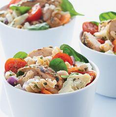 pasta salad, chicken salads, chicken pasta