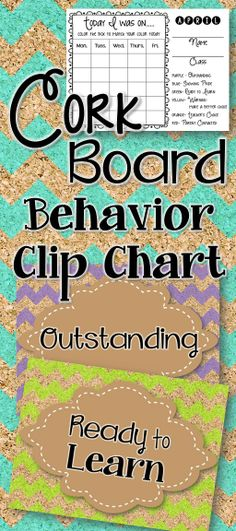 Behavior clip chart in a fun cork board chevron theme. Students can track how they are doing and teachers can communicate home with the monthly sheets where students color in what color the ended on for the day. #classroommanagement #behavior #clipchart #elementaryteacher #edchat #BTS #backtoschool #classroom