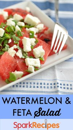 End-of-Summer #watermelon #salad. Love this sweet & salty combo--perfect way to close out the season!   via @SparkPeople #summer #healthy #fruit #recipe