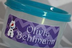 Personalized Frozen Waterproof Labels! Adorable :)