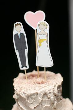 Bride, Groom and Heart Cake Topper Set. $22.00, via Etsy.