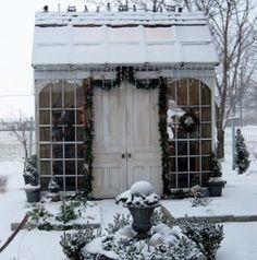 Pretty little garden shed, all dressed in snow. interior design, modern gardens, cottag, potting sheds, little gardens, garden design ideas, modern garden design, garden houses, christma