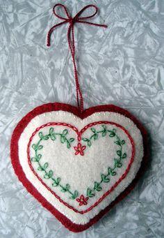 Beautiful felt heart.  Christmas ornament.