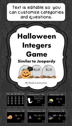 Looking for an easy way to review Integers during the Halloween season? This is it! With 25 questions, students will have lots of review and they'll enjoy the Halloween themed clip art and color scheme. All the text boxes are editable so you can customize all the categories and questions for your class.
