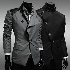 Slim Fitting Blazer Jacket with Leather Shoulder Patch