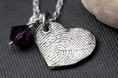 Fingerprint jewelry is soo cute!!! Custom Fingerprint Jewelry  Heart Necklace by rockmyworldinc, $94.99