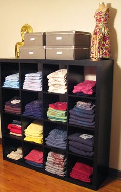 tshirt/shorts storage - for a boy's closet/ This would be great for Steven and Gerards room