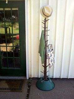 How to make a recycled Christmas tree into a rustic coat rack ·
