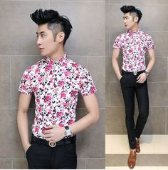 Trendy 2014 Japan Korean Stylish Man Fashion Floral Shirt for Party Night Club Fancy Shirts Hot Sale $25.00
