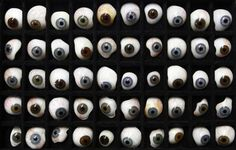 A tray of example glass eyes are pictured at the medical equipment shop of ocularist Gerhard Greiner in Munich December 11, 2012. Greiner produces individual hand glass-blown human eye prostheses for people who have lost an eye or eyes due to a trauma, illness or accident. Each glass eye takes about one hour to make, with constant reference to the patient for the right colour and for detailed drawing of the veins. A bespoke glass eye prostheses cost about 350 euros (US $457). A typical modern gl