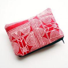Red Batik zipper purse