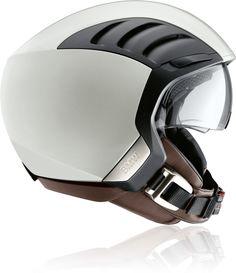 BMW Airflow 2 helmet, plastic, white, anodized, aluminium, metal, leather, transparent, mesh